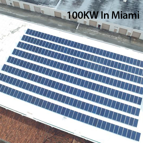 100KW Grid Tied Solar System in Miami for Shopping Center